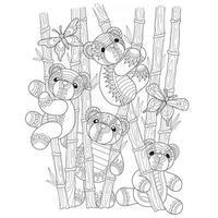 ursinhos de pelúcia na floresta de bambu desenhados à mão para livro de colorir adulto vetor