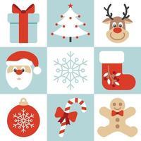 Feliz Natal saudação cartão postal com ilustração em vetor estilo plano de abeto e texto de Natal. comemorando o Natal e o feliz ano novo cartão com presentes e árvore isolada no fundo dos flocos de neve.