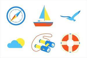 conjunto de design de estilo plano de elementos de férias férias praia. bússola, veleiro, gaivota, sol, nuvem, binóculos, ícones de sinais de bóia de vida - símbolos de férias exóticas da temporada, isolados no fundo branco. vetor