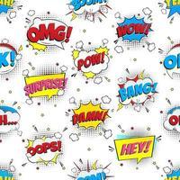 discurso em quadrinhos colorido bolhas padrão sem emenda com frases omg, pow, bang, oops, uau, surpresa, boom etc. ilustração em vetor design estilo plano isolada no fundo branco. versão caótica.