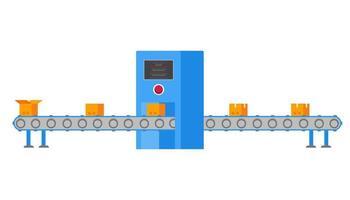 a correia transportadora de fábrica industrial na embalagem em ilustração em vetor design estilo simples isolada no fundo branco. embalagem automática na planta da fábrica. computador industrial, cinto e caixas.