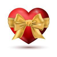 coração vermelho com um laço vetor
