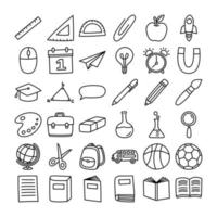 de volta ao ícone da escola definir o estilo do doodle. educação mão objetos desenhados e símbolos com linha fina. vetor