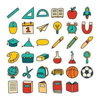 de volta ao ícone da escola definir estilo de contorno preenchido. educação mão objetos desenhados e símbolos. vetor