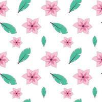 padrão sem emenda com folhas tropicais e flores sobre fundo branco. textura infinita de vetor em estilo cartoon com traços finos