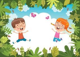 crianças felizes balançando com corda de raiz na selva vetor