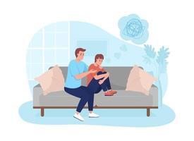pai apoiar filho adolescente ilustração vetorial 2d vetor