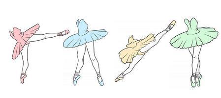 conjunto de balé. bailarina em sapatilhas de ponta e um tutu. pernas de dançarina. arte de linha. vetor