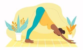 mulher grávida de pele escura meditando em casa. ilustração do conceito de ioga pré-natal, meditação, relaxamento, recreação, estilo de vida saudável. ilustração em estilo cartoon plana. vetor