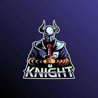 vetor de jogo do logotipo do mascote do cavaleiro