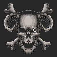 ilustração em vetor crânio cabeça crossbone