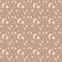 magia vintage padrão sem emenda boho com sol, lua, estrela isolada em fundo bege. ilustração em vetor plana. design boêmio para embalagem, têxtil, papel de parede, pano de fundo, embalagem