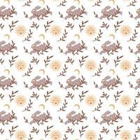 coelho de boho mágico vintage padrão sem emenda com lua, estrela, folhas isoladas no fundo branco. ilustração em vetor plana. design boêmio para embalagem, têxtil, papel de parede, pano de fundo, embalagem