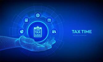ícone de imposto na mão robótica. pagamento de impostos do conceito. análise de dados, relatório de pesquisa financeira e cálculo de declaração de imposto de renda. pagamento de dívidas. governo, impostos estaduais. vetor