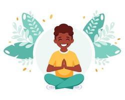 rapaz afro-americano meditando na posição de lótus. ginástica, ioga e meditação para crianças. vetor