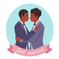 casal gay afro-americano. casamento LGBT, conceito de orgulho. vetor