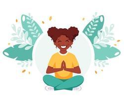 garota afro-americana meditando na posição de lótus. ginástica, meditação para crianças. vetor