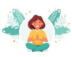 menina meditando na posição de lótus. ginástica, meditação para crianças vetor