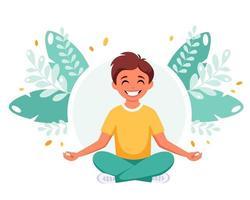 menino meditando na posição de lótus. ginástica, meditação para crianças. vetor