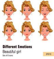 mulher com diferentes expressões faciais. jovem atraente loira com várias emoções vetor