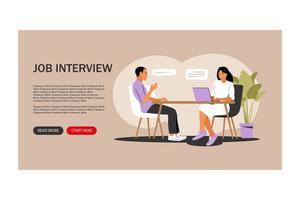 conceito de entrevista de emprego. página de destino. entrevista com recursos humanos. ilustração vetorial. apartamento. vetor