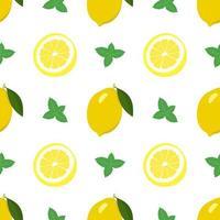 Primavera brilhante sem costura e padrão de verão com limão e fatias e folhas de hortelã. um conjunto de frutas cítricas para um estilo de vida saudável. ilustração em vetor plana de alimentos saudáveis