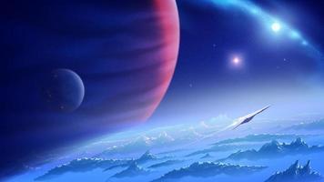 uma nave espacial está voando de um planeta desconhecido no universo com o fundo de uma nebulosa e um planeta gigante de gás vetor