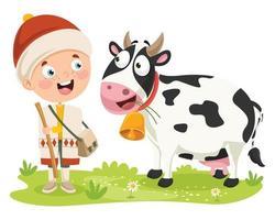 pastor e desenho de vaca vetor