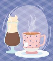 hora do café, xícaras com leite e chá saquinho de chá bebida fresca vetor