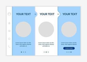 modelo de vetor integração de promoção de serviços. site móvel responsivo com ícones. passo a passo da página da web telas de 3 etapas. informação do produto. conceito de cores de engajamento de visitantes com espaço de cópia