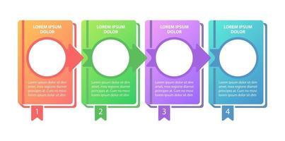modelo de infográfico de vetor de programa educacional. aprendizagem de elementos de design de apresentação de progresso com espaço de texto. visualização de dados com 4 etapas. gráfico de linha do tempo do processo. layout de fluxo de trabalho com copyspace