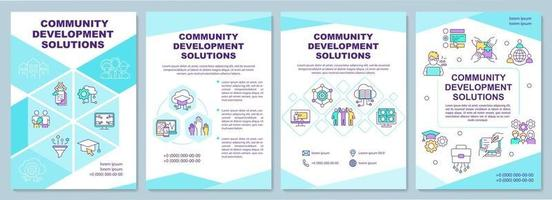 modelo de folheto de soluções de desenvolvimento comunitário. folheto, livreto, impressão de folheto, design da capa com ícones lineares. layouts de vetor para apresentação, relatórios anuais, páginas de anúncios