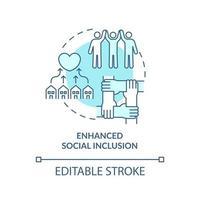ícone do conceito de inclusão social aprimorada. ilustração de linha fina de ideia abstrata de desenvolvimento de comunidade. conexão com a família, comunidade local. desenho de cor de contorno isolado vetor. curso editável vetor
