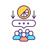 feedback do cliente ícone de cor rgb. identificar as atitudes do cliente. ilustração isolada do vetor. gestão de marca. atração de clientes potenciais. Aumentando o conhecimento da marca desenho de linha preenchido simples vetor