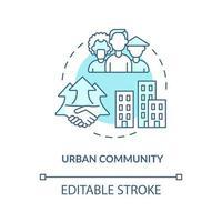 ícone do conceito de comunidade urbana. tipos de comunidades ilustração de linha fina de ideia abstrata. populações urbanas. grandes vilas e cidades. desenho de cor de contorno isolado vetor. curso editável vetor