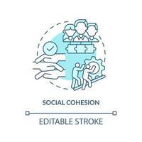 ícone do conceito de coesão social. ilustração de linha fina de ideia abstrata de desenvolvimento de comunidade. proporcionando prosperidade a todos os cidadãos. trabalhando juntos. desenho de cor de contorno isolado vetor. curso editável vetor