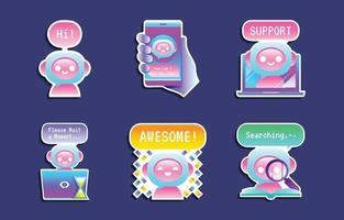 coleção de adesivos coloridos de chatbot vetor