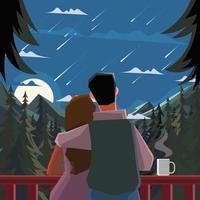 casal gosta de estrela cadente à noite vetor