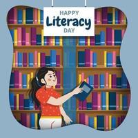 feliz dia da alfabetização com fundo da biblioteca vetor