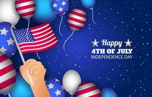 Dia da independência dos EUA com modelo de plano de fundo de decorações vetor