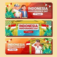 cerimônia adolescente do dia da independência da Indonésia vetor