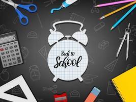 cartaz de volta às aulas com materiais realistas no fundo do quadro-negro vetor