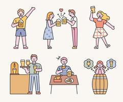 dia da cerveja. muita gente bebendo cerveja no bar. ilustração em vetor mínimo estilo design plano.