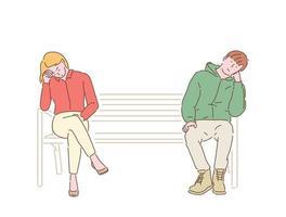 um homem e uma mulher estão sentados em ambas as extremidades de um banco, parecendo entediados. mão desenhada estilo ilustrações vetoriais. vetor