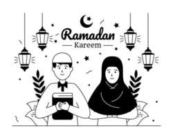 casal de familia muçulmano vetor