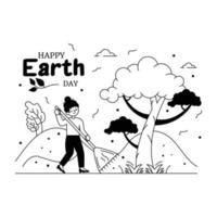 limpando terra e árvores vetor