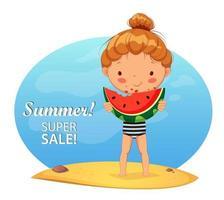 Olá verão. menina bonitinha comendo melancia vetor