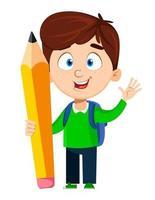 de volta à escola. menino bonito segurando um lápis grande vetor