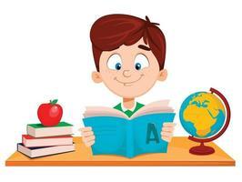 menino bonito sentado à mesa lendo livro ABC vetor