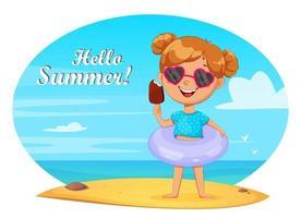 Olá, conceito de verão. garotinha fofa vetor